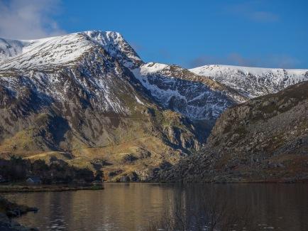 Foel Goch and the dramatic ridge of Yr Esgair from Llyn Ogwen
