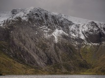 Idwal Slabs, the upper cliff and Glyder Fawr with Llyn Idwal in foreground