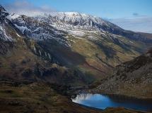 Crags of Mynydd Perfedd with Llyn Ogwen below