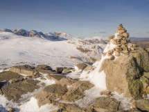 Cairn looking to Crinkle Crags and Bowfell