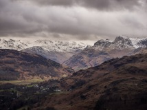 Bowfell in the clouds, Harrison Stickle prominent on the right, Chapel Stile below