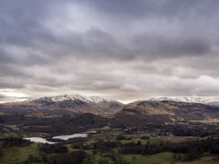 Wetherlam on the left, Elterwater in front