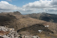 Looking east from Pen to Bowfell (left) and Crinkle Crags (right)