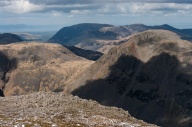 Great Gable (Napes crags facing us), Kirk Fell left, Ennerdale behind, looking towards Grasmoor