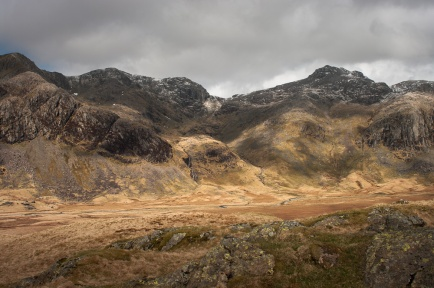 Scafell (left) and Scafell Pike (right) separated by the notch of Mickledore, seen from upper Eskdale