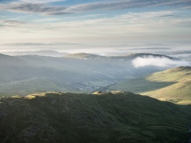 Low clouds over Windermere, the Howgill Fells in the distance