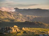 Helvellyn and Striding Edge at sunrise from Red Screes