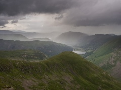 Rain over Patterdale and Ullswater in the distance