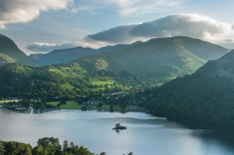 Glenridding from Silver Crag. The Helvellyn range is the far sky line.