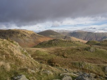 On the ridge above Easedale, Fairfield Horseshoe in the distance