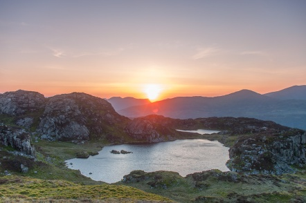 Sunset over the Nantlle ridge, Llynau Cerrig y myllt in the foreground