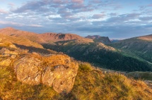 High Stile and Fleetwith Pike at sunrise from Bessyboot