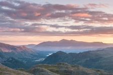 Skiddaw, Catbells and Derwent Water at sunrise from Bessyboot