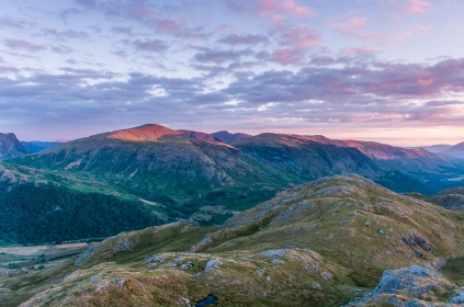 Western Borrowdale fells at sunrise from Bessyboot