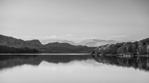 Fairfield and Helvellyn beyond the head of Coniston Water