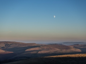 Sunset and Moonrise from Shining Tor looking east.