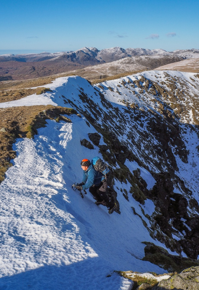 Topping out on the snow/ice climb