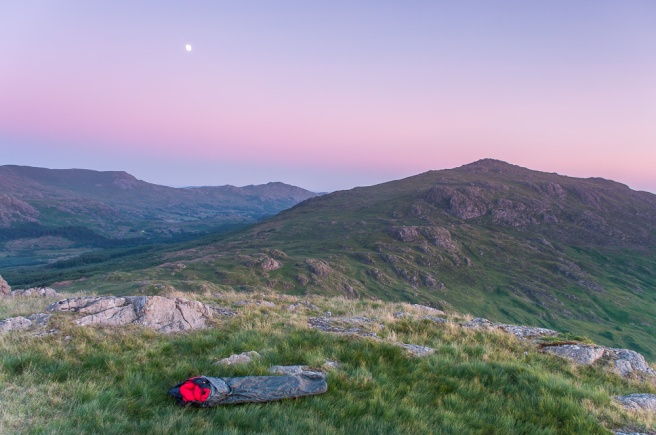 My wild camp on border end looking to Harter Fell and the Duddon Valley